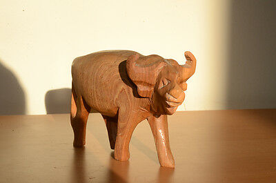 """Crude Wooden Carved African Bison Buffalo Pale Wood 3.5"""" Tall"""