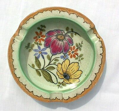 Gouda Holland Green Ashtray Flowers