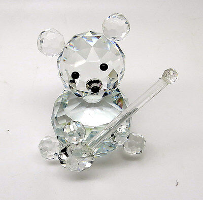 CRYSTAL TEDDY BEAR WITH BANJO ORNAMENT, Figurine,BABY CHRISTENING Special Gift