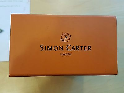 Simon Carter Mens Black Leather Belt with Nickel Buckle BNIB