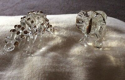 Dinosaurs Two Small Clear Glass & Gold Painted Ornaments