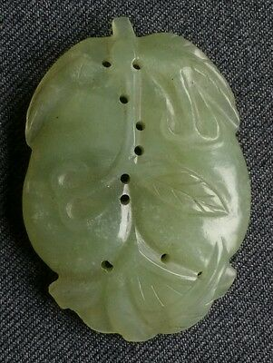 Superb Chinese fruit form green jade carving