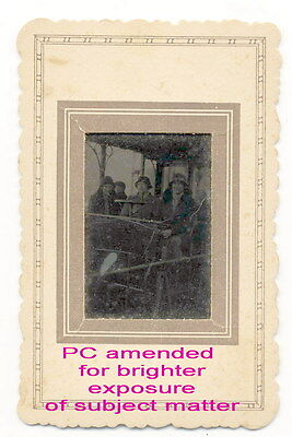 TINTYPE photo Early Victorian. 4 women in a tram?