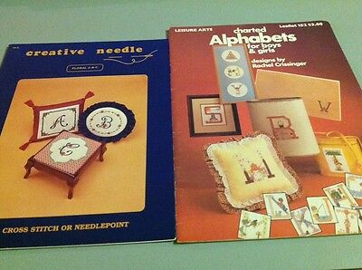 Two Cross Stitch Books - Floral A B C And Alphabets For Boys & Girls
