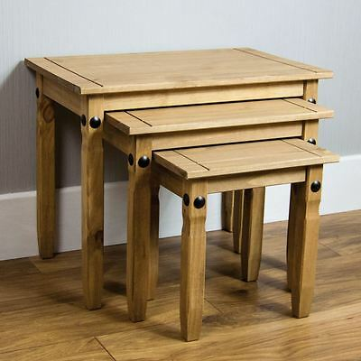 Corona Nest Of 3 Tables Mexican Solid Pine Wood Waxed Rustic Finish Furniture
