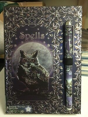 Luna Lakota Witches Spellbook Embossed Owl Spell Journal - Grimoire Wicca Pagan