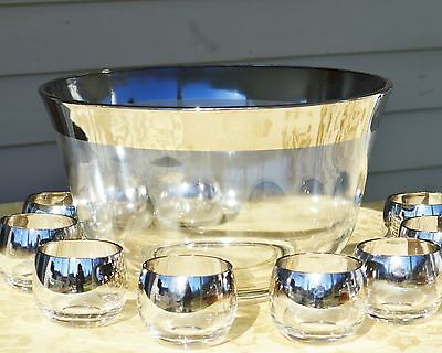 Vintage 10 Silver Fade Roly Poly Glasses & Punch Bowl set DOROTHY THORPE