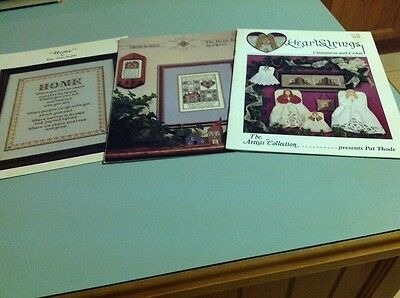 """Three Cross Stitch Books -""""Home"""", The Heart Knows And Heartstrings - Cinnamon An"""