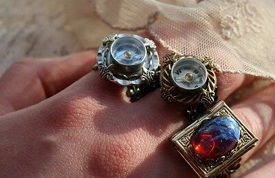 Compass ring lace & hammered setting working compass sz 4.5 -10 Halloween fall