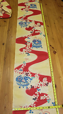 """Antique Old Japanese Sheer Silk Wave Bird Cage Kimono Fabric Patchwork 60"""""""