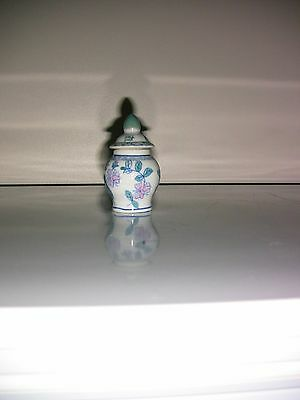 Mini white and blue cermaic jar with pink flowers