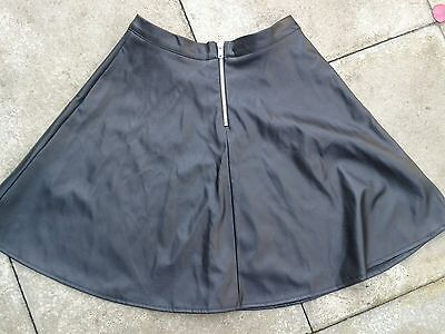Teenage Girls Black Leather Look Skater Skirt Size 6. BNWT from New Look