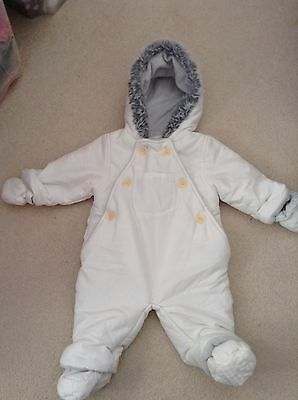 John Lewis White Baby Snowsuit  Fur Lined Size 3-6 Months Unisex Boys Girls
