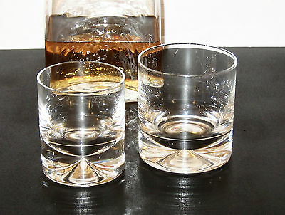 "A pair of Dartington Crystal first quality ""Dimple"" old fashioned glasses FT10/4"