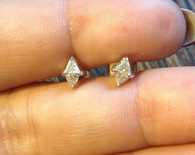 Diamond Earrings Stud Gorgeous Trillion Cut Real 0.45/0.50Ct Solid Gold