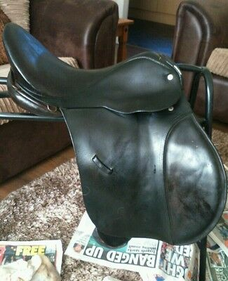 "Antill cob saddle 16.5"" English leather, wide, black"
