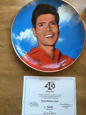 Cliff Richard 40 Years Collectors Plate & Certificate -Early Days