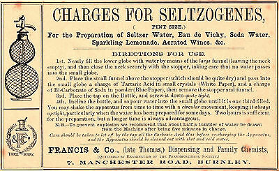 Orig Victorian Seltzogenes preparation label, aerated water, soda siphon label