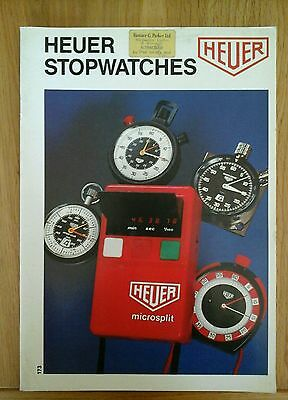 Vintage Heuer Stopwatches Booklet Catalogue