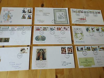 BRITISH UK FIRST DAY COVER STAMP COLLECTION x 9 1980'S PRESENTATION ENVELOPES