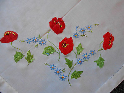 Beautiful Vintage Linen./rayon Mix Hand Embroidered Tablecloth