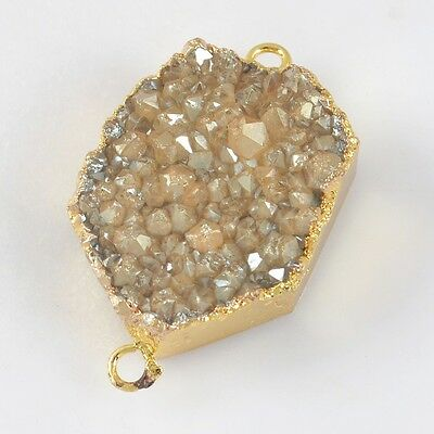 Natural Agate Titanium Druzy Connector Gold Plated T025905