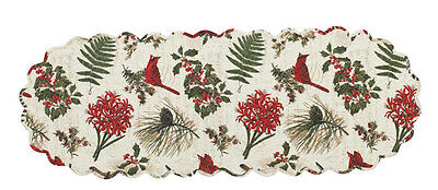 """Nature Sings ~ Christmas Cardinals and Holly Quilted Table Runner 13""""x36"""""""