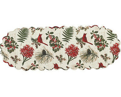 "Nature Sings ~ Christmas Cardinals and Holly Quilted Table Runner 13""x54"""