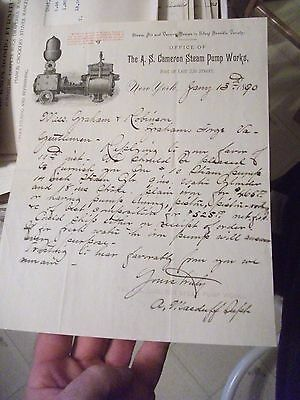 """Collectible Dated 1890 Letter Head """"THE A.S. CAMERON STEAM PUMP WORKS"""" New York"""