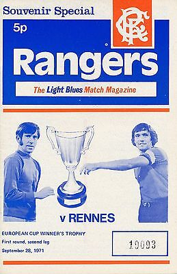 Rangers v Rennes (Cup Winners Cup) 1971/2