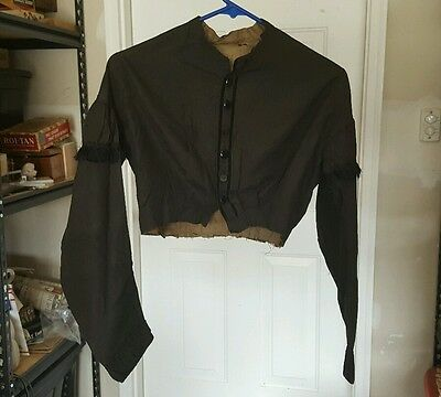 Antique Victorian Era Mourning Blouse Shirt Bodice Top Lace Black Long Sleeve