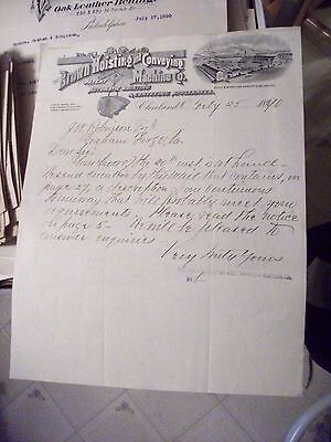 """Collectible Dated 1890 Letter Head """"BROWN HOISTING & CONVEYING MACHINE CO."""" Ohio"""