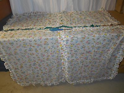 EXC VTG? sweet 1 pr 2 panels cute white w colorful floral curtains ruffle p179