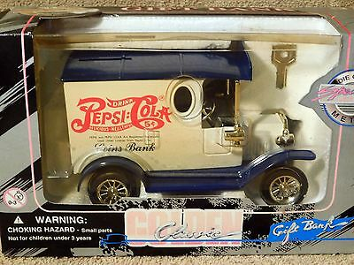 Pepsi Cola Delivery Truck Diecast & Bank 1996 Golden Wheel Die Cast In Box