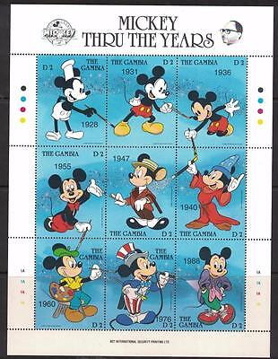 Gambia Sc# 814 MNH Sheet of 9 Mickey Mouse