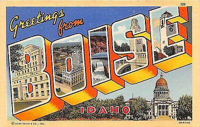 Large letter postcard Greetings from Boise Idaho