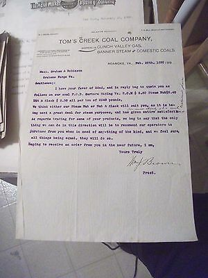 """Collectible Dated 1895 Letter Head """"TOM'S CREEK COAL COMPANY"""" Roanoke, Virginia"""