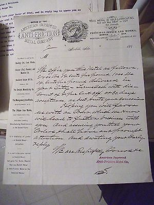 """Collectible Dated 1890's Letter Head """"AMERICAN IMPROVED ANTI-FRICTION METAL CO."""""""