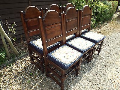 Set of Six Solid Oak Antique Dining Chairs