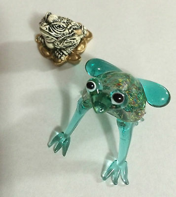 Cute Small Teal Glass Frog Figurine with Small Ivory/Black/Gold Colored Toad
