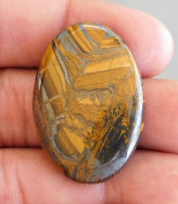 57.4Cts Wonderfull 100% Natural  Yellow Tiger Eye Oval Shape Loose Gemstone