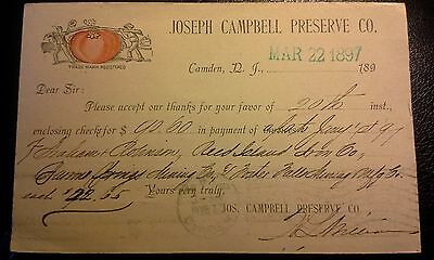 """Collectible Dated 1897 Advert. Postcard """"JOSEPH CAMPBELL PRESERVE CO.""""  NJ"""