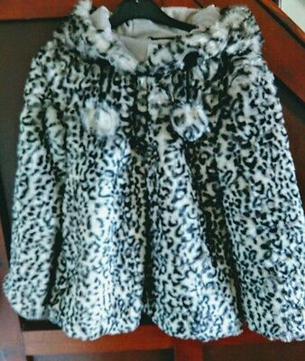 Gorgeous Marks and Spencer Autograph Girls Faux Fur leopard jacket/coat,age 9-10