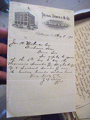 """Collectible Dated 1890 Letter Head """"TRIGG,DOBBS & CO."""" Wholesale Grocers-Tenn."""