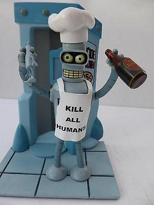 Futurama Bender Action Figure With Chef Hat And Suicide Booth Stand (Used)