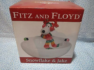 Fitz and Floyd Holiday Christmas SNOWFLAKE & JAKE Reindeer Candy Bowl Dish w/Box