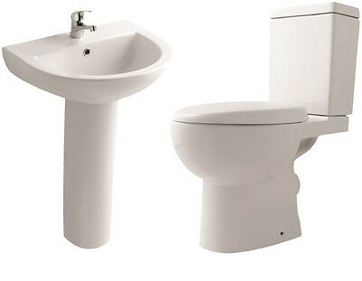 Basin Toilet Set Sink Suite Bathroom Unit Cloakroom Suite Soft Close Seat 660mm