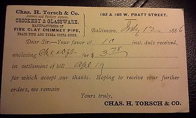 """Collectible Dated 1886 Advert. Postcard """"CHAS. H. TORSCH & CO.""""  Baltimore, MD"""