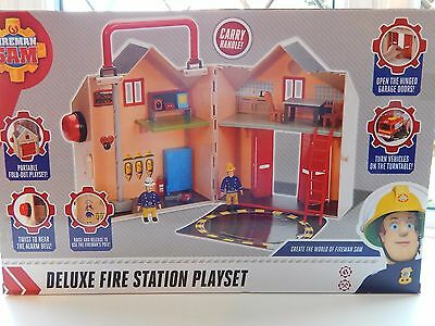 Fireman Sam Deluxe Fire Station Playset With 2 Figures - New And Boxed