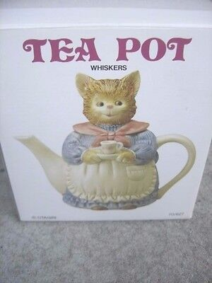 """Vintage Otagiri Japan 7"""" WHISKERS Lady Cat Teapot with apron cup NEW IN BOX unus"""